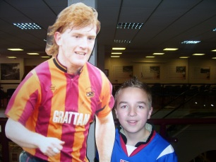 with a cardboard cutout of Stuart Pearce!