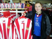 some retro Stoke shirts in the club shop