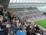 The stadium is packed with passionate Newcastle fans