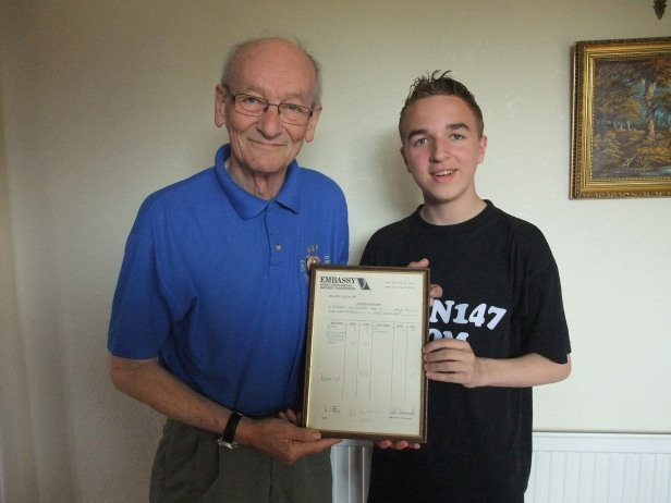 Me and my Great Uncle Mike with the scoresheet from Cliff Thorburn's historic 147 break in 1983. (6/6/10)