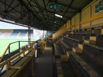 Wooden seating in the York Street stand
