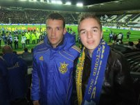 with Andriy Shevchenko at Pride Park