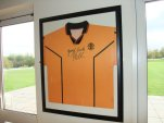 A Handsworth shirt signed by Pele in the clubhouse
