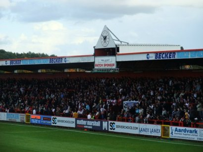 The terrace is packed with home supporters