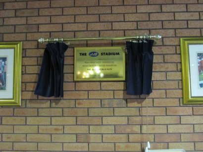 A plaque from the opening of the stadium in 1999