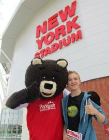 with the Rotherham United mascot
