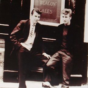 John Lennon with art school friend Tony Carricker outside the pub in October 1958