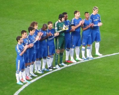 The Chelsea players applaud