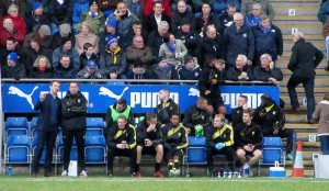 The Burton Albion dugout