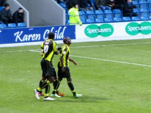 The visitors celebrate Jacques Maghoma's first half goal