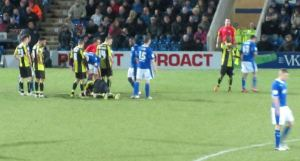 Jack Lester receives a straight red card