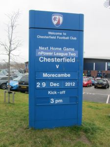 Morecambe are the final visitors to the Proact Stadium in 2012