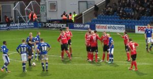 Chesterfield line up a free kick