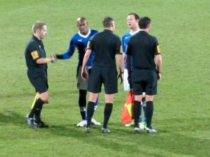 Luis Boa Morte and Sam Togwell have a word with the officials at full time