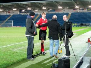 Andy Parrish is interviewed after the game