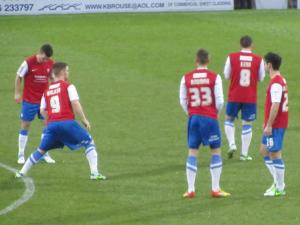 The York City players prepare for the game