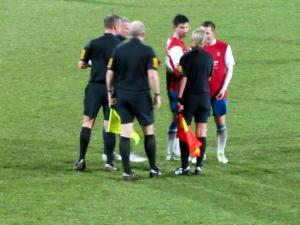 A couple of York players have a word with the officials