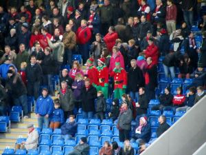 A few away supporters in fancy dress
