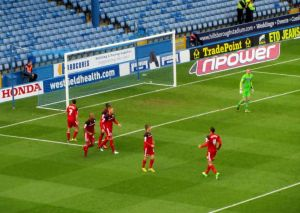 The visitors celebrate Sam Baldock's equaliser to make it 1-1