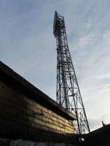 One of the floodlight pylons