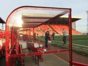 Looking through the dugout towards the North Stand
