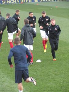 The Barnsley players warm up