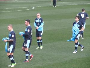 The Burnley players get ready for the game