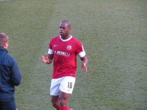 Marlon Harewood speaks to the dugout