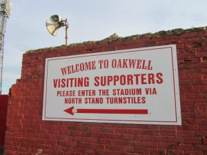A sign greeting the visiting supporters