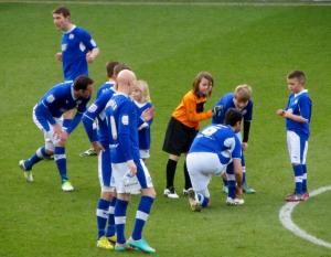 The Chesterfield mascots go on the pitch before kick off