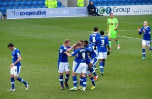 The players celebrate Jay O'Shea's goal