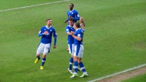Just a minute later and the players are celebrating again after Marc Richards doubles the lead