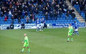 Marc Richards scores his second and Chesterfield's third goal of the game