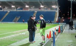 A Northampton player is interviewed