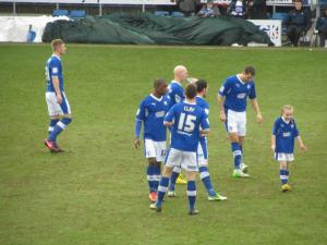 The Chesterfield players prepare for kick off