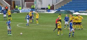 Marc Richards lines up a free kick