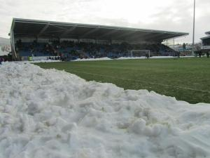 Snow at the edge of the pitch