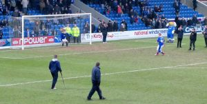 The 40 year old mascot takes a penalty against Chester during the break