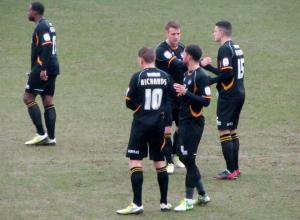 The Bristol Rovers players prepare for kick off