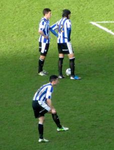 Miguel Llera lines up a free kick