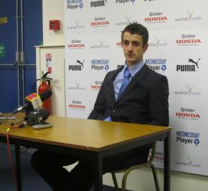 Wednesday midfielder Danny Pugh is next to answer questions