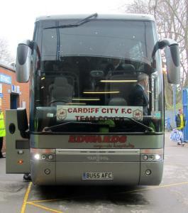The Cardiff City team coach arrives