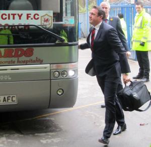 Bluebirds boss Malky Mackay gets off the coach