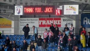 A special message and minute's applause for Jack on the 14th minute, 14 being his shirt number at Chesterfield for the past 6 years