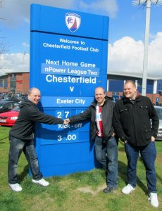 My Dad with Exeter fans Steve and Chris