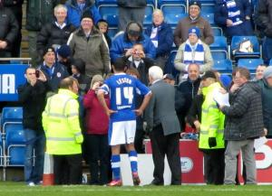 Jack Lester and chairman Dave Allen make short speeches at half time