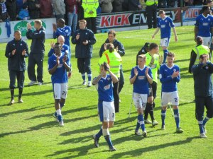 The players thank the fans for their supporters