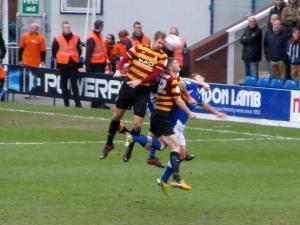 James Hanson wins a header