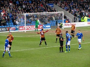 The Spireites win a free kick on the edge of the box