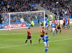 Mark Randall's free kick only finds the goalkeeper